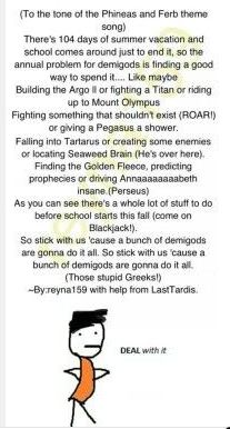 The Percy Jackson theme song. I laughed so hard.