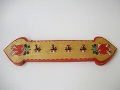 Unused Vintage wood wall /kitchen shelf /rack,furniture,handmade, red, flower pattern,rustic,shabby chic by GraceVintageDesigns on Etsy
