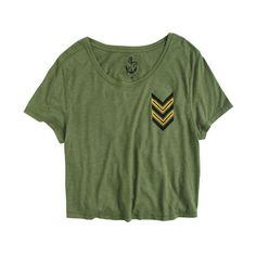 Chevron Army Tee ($5.99) ❤ liked on Polyvore featuring tops, t-shirts, shirts, tees, graphic tees, graphic t shirts, green shirt, tee-shirt, green t shirt and graphic shirts