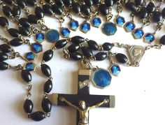 NUNS ROSARY † VINTAGE 15 DECADE FRENCH HABIT ROSARIES † 16 BLUE ENAMELED MEDALS