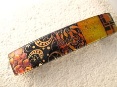 Large Barrette OOAK Copper Gold Dichroic Barrette by ccvalenzo