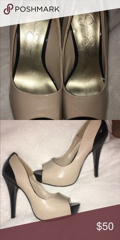 Nude/black Jessica Simpson heels. Peep toe heels. Black at heel and tip, & comfortable. Jessica Simpson Shoes Heels