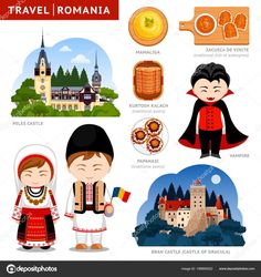 Travel to romania romanians in national clothes vector image on VectorStock Anime Centaur, Peles Castle, Flat Illustration, Guide Book, Travel Posters, Preschool Activities, Birds In Flight, How To Draw Hands, Images