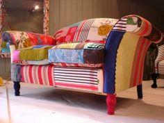 patchwork fabric sofa makeover