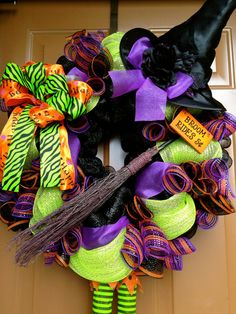 Halloween Witch Mesh Wreath Broom Rides by marinascustomdesigns, $65.00