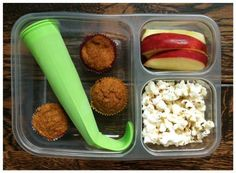 Frozen smoothie pop with berries/yogurt/kale/sunflower butter, 3 mini whole-wheat pumpkin muffins, apples, and popcorn