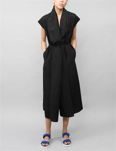 Creatures of Comfort Rodiline Dress- Silk Linen Black  minus the sandals, the dress is perfect.