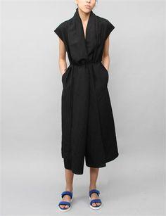 Creatures of Comfort Rodiline Dress- Silk Linen Black