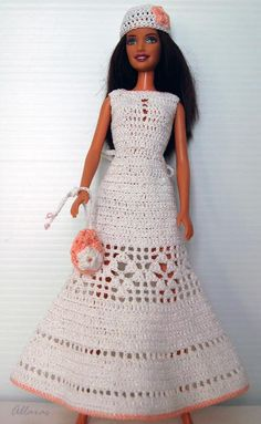 Crochet Barbie Wedding Dress Three Piece Outfit por Allaras