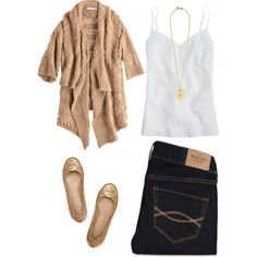 MY VERSION: beige cardigan, blue jeans, white top, pointed Steve Madden flats