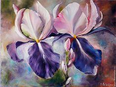 Купить Картина маслом Пара ирисов - картина, картина в гостиную, картина в подарок, прованс