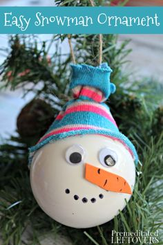 This Snowman Christmas Ornament craft is a fun and simple way for kids to decorate the tree. It is also a sweet, homemade gift for friends and relatives.