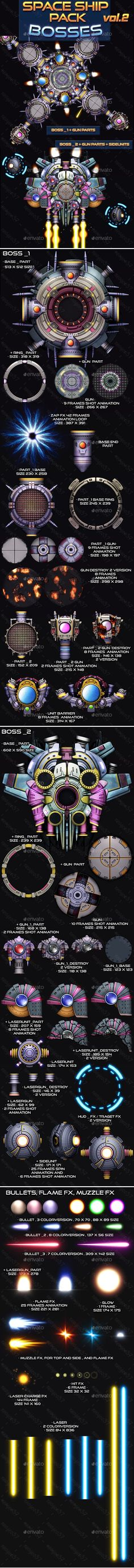Space Ship Pack Bosses Vol 2 - Sprites Game Assets Free Game Assets, Game Background, Space Ship, Vol 2, Link, Boss, Sci Fi, Photoshop, Packing