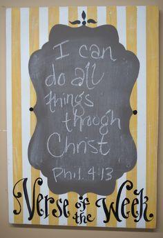 Yellow Stripe Verse Of The Week Cabinet Chalkboard by kijsa