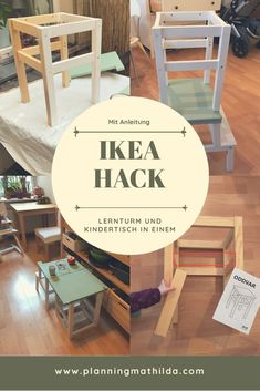 Lernturm und Kindertisch in einem – ein Ikea Hack The ultimate learning tower for small kitchens! Very easy to convert to a children's table. With complete step by step instructions. Easy to implement IKEA Hack for little money. Diy Hanging Shelves, Diy Wall Shelves, Diy Hacks, Kura Ikea, Kid Table, Mason Jar Diy, Diy Organization, Diy Projects To Try, Diy For Kids