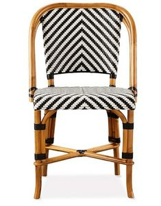 Black, white, and rattan chair Found here: http://www.williams-sonoma.com/products/parisian-bistro-woven-side-stool/?pkey=e%7CBistro%7C45%7Cbest%7C0%7Cviewall%7C24%7C%7C6&cm_src=PRODUCTSEARCH||NoFacet-_-NoFacet-_-NoMerchRules