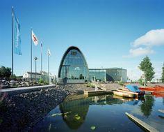 Wooden Boat Centre, Kotka, Finland - Lahdelma & Mahlamäki Architects Pilkington Glass, Open Layout, Roof Design, Wooden Boats, Helsinki, Architects, Restoration, Solar, World