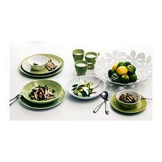 FÄRGRIK Serwis, 18 szt. - zielony/ceramika - IKEA