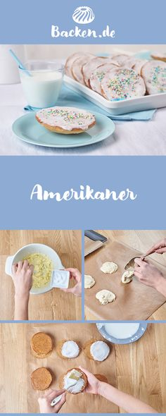 Amerikaner Americans are great party baked goods that are well received by young and old. With your favorite decoration you give them their individual touch. Baking Recipes For Kids, Baking With Kids, Dessert Simple, Cookie Recipes, Dessert Recipes, Brunch, Cupcakes, Healthy Breakfast Recipes, Food Items