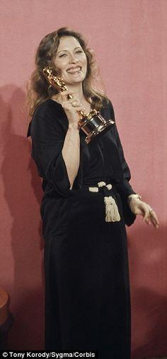 In 1977 Faye Dunaway wore a black robe-like dress by Geoffrey Beane when she won the Oscar for Network.