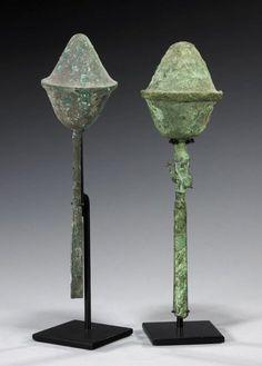 North Coast Peru, ca. 0-300 CE.  Copper / bronze rattle with chisel like Knife Blade used in Sacrifice Rituals