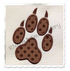 Applique Wolf Paw Print Machine Embroidery Design