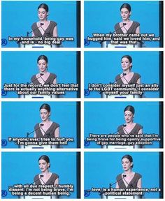 Anne Hathaway on being a decent human being - love is a human experience not a political statement. Go Anne Hathaway! I Look To You, Be My Hero, Faith In Humanity Restored, All That Matters, Anne Hathaway, Good People, Wise People, Amazing People, Glee