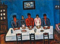 Marsden Hartley Fishermen's Last Supper, Nova Scotia, 1940-41, Oil on hardboard. Collection Friends of the Neuberger Museum of Art, Purchase...