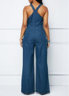 Denim Blue Bib Neck Sleeveless Jumpsuit | Rosewe.com - USD $34.88 Blue Jumpsuits, Jumpsuits For Women, African Wear, African Dress, Black Women Fashion, Womens Fashion, Jeans Jumpsuit, African Fashion Dresses, Overall