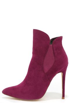 Very Superstitious Plum Purple Suede Pointed Toe Booties at Lulus.com!