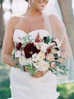 pretty white pink and green bouquet with burgundy | Photography: Sarah Joelle Photography - www.sarahjoellephotography