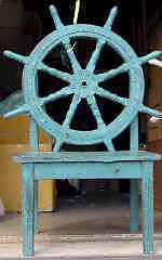Wood Ship Wheel Captains Chair Antique Nautical Home Decor Table Lake Deck Bar