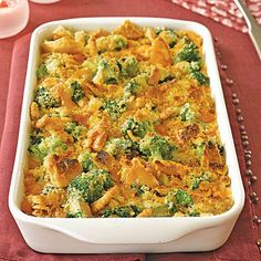 1 pound broccoli, cut into pieces $  1 (10.75 oz.) can cream of mushroom soup  2 large eggs, lightly beaten $  1 cup mayonnaise $  1 1/2 cups shredded Cheddar $  1 stick (1/4 lb.) salted butter, cut into pieces $  Pepper  1 sleeve Ritz crackers, crushed (1/3 of a 12 oz. box) $  Preparation    Preheat oven to 350°F. Mist a 9-by-13-inch baking dish with cooking spray.  Steam broccoli until crisp-tender, 7 minutes. Transfer to a bowl of ice water.  Mix soup, eggs, mayonnaise, cheese, butter and…
