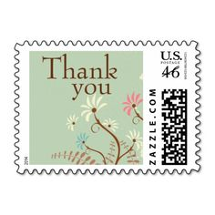 Soft teal   cream floral thank you wedding stamps