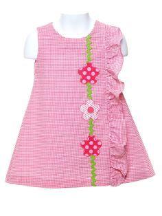 Seersucker Dress with Pink Appliquéd Flowers