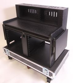 Custom workstation with 15 Degree angled racks up top, Racks below, pull out keyboard tray, and fold up side tables with extensions Road Cases, Folded Up, Work Stations, Storage, Consoles, Touring, Table, Cart, Technology