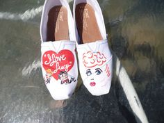 I Love Lucy - Lucy Ricky Fred Ethel heart cartoon figures Custom Painted Shoes TOMS VANS on Etsy, $119.00