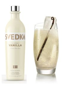 SVEDKA Moon Rising: Ingredients: 1½ parts SVEDKA Vanilla 1 part ginger ale 1 part lemon-lime soda Directions: Pour SVEDKA Vanilla over ice into a tall glass. Fill halfway with ginger ale. Top with lemon-lime soda and gently stir. Garnish with a vanilla bean.