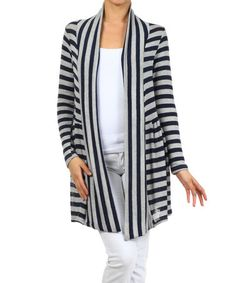Another great find on #zulily! Gray & Navy Stripe Open Cardigan #zulilyfinds