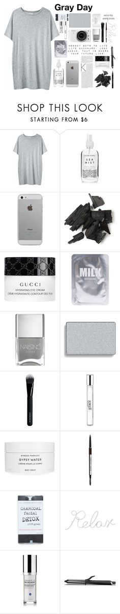 """Gray day"" by chickadee297 ❤ liked on Polyvore featuring Organic by John Patrick, Herbivore, Luvvitt, Gucci, Lapcos, Nikon, Nails Inc., Mary Kay, Givenchy and philosophy"