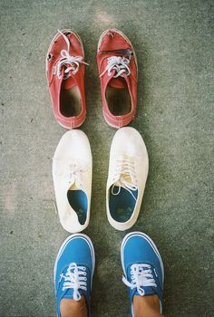 Three generations of shoes. How about those red Authentics up top? / via tumblr
