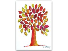 Illustrationen - Baum rot-gelb, Original Illustration - ein Designerstück von Angelika-Rump bei DaWanda