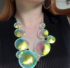 Tatty Devine Iridescent Bubbles Necklace Bubble Necklaces, Statement Necklaces, Devine Love, Tatty Devine, Weird And Wonderful, Contemporary Jewellery, Cute Jewelry, Monster High, Holographic