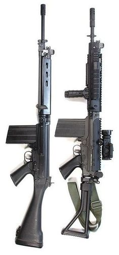 Belgian FN FAL, 7.62x51 mm and  FNC, 5.56x45 mm.
