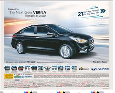 View Hyundai Presenting The Next Gen Verna Intelligent By Design 21 New Age Features For The Next Gen Ad newspaper. This Ad is collection of Sample Ad at Advert Gallery. Car Banner, Car Advertising, Car Rental, Print Ads, The Next, New Age, Driving Test, 21st, Social Media