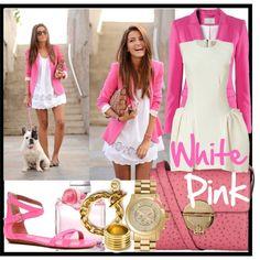 White dress. Pink styling.