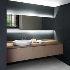 Indirect lighting as sole source of light at bathroom vanity. #modernbathroom