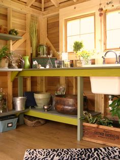 potting shed with wine cooler and ceiling fan my kind of gardening container gardening gardening outdoor living repurposing upcycling