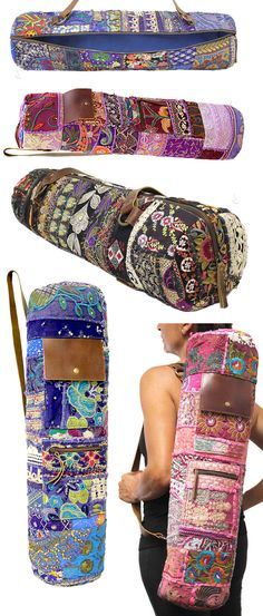 Boho yoga bags // with pockets for your essentials and easy zip access - beautiful design Yoga Bag Pattern, Folding Chairs, Boho Bags, Yoga Mat Bag, Free Yoga, Fabric Bags, Yoga Accessories, Latex Free, Diy Bags