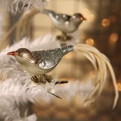Romantic Glass Bird Ornament Clips - I use these on my tree and the feathered tails add movement and interest. lh